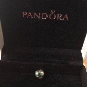 Pandora green emerald colour stone charm